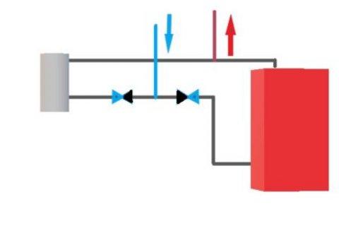 На рисунке простая и работоспособная схема паралельного подключения электрокотла иТК